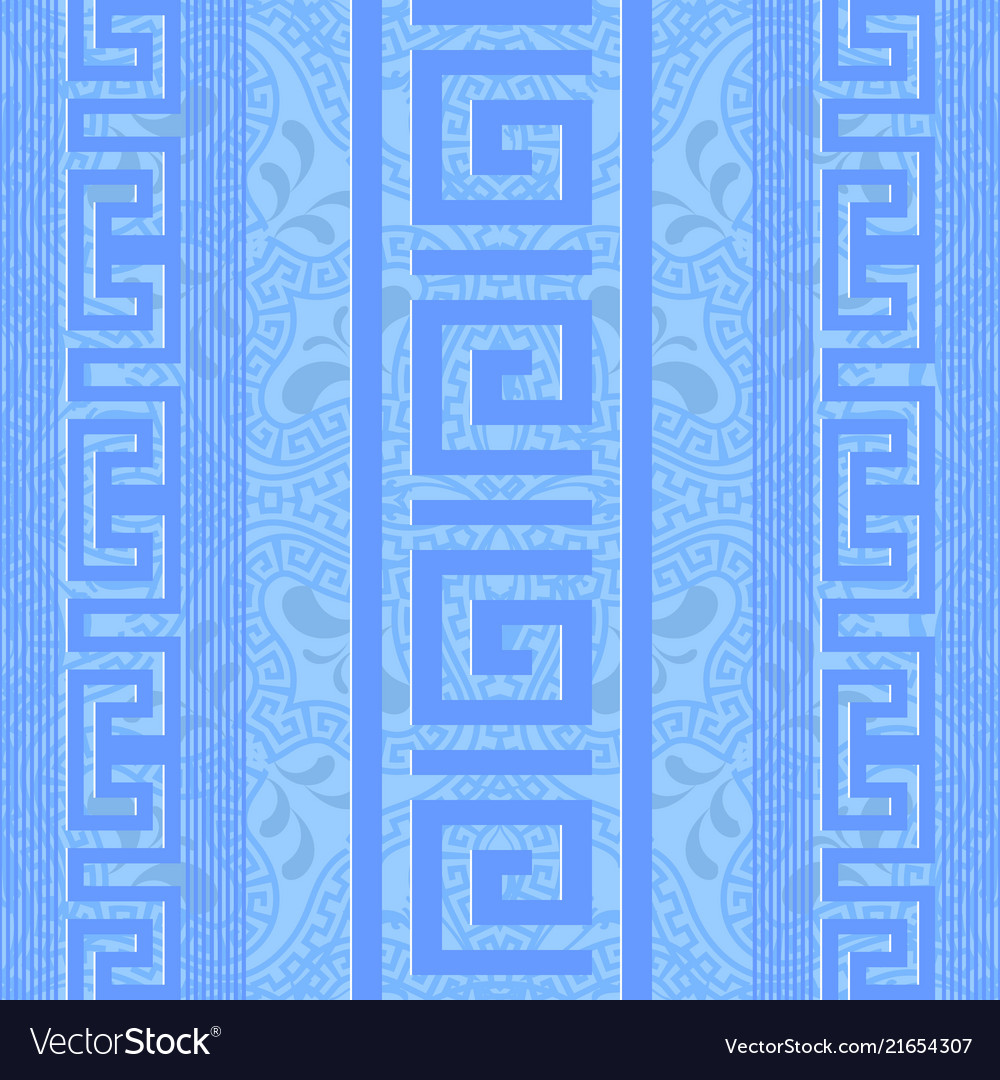 Greek ornamental light blue seamless pattern