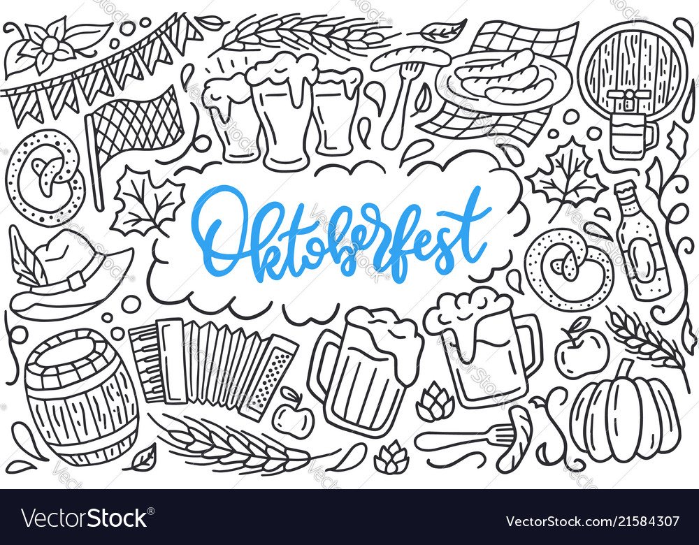 Oktoberfest festival poster with lettering and
