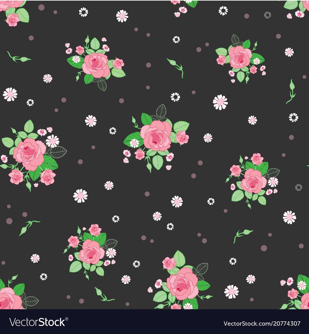 Pink brown roses ditsy vintage seamless pattern vector image