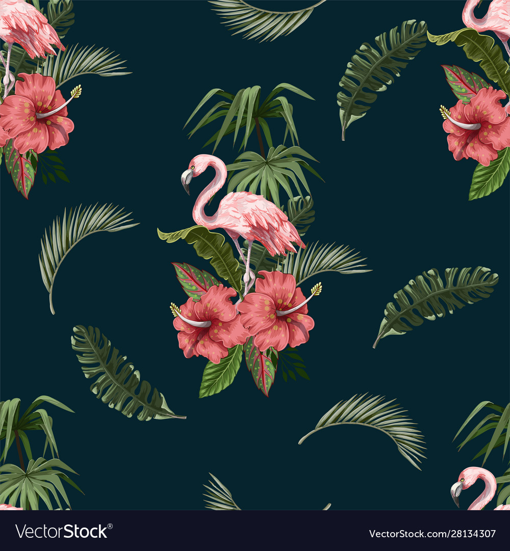 Seamless pattern with flamingo and tropical leaves