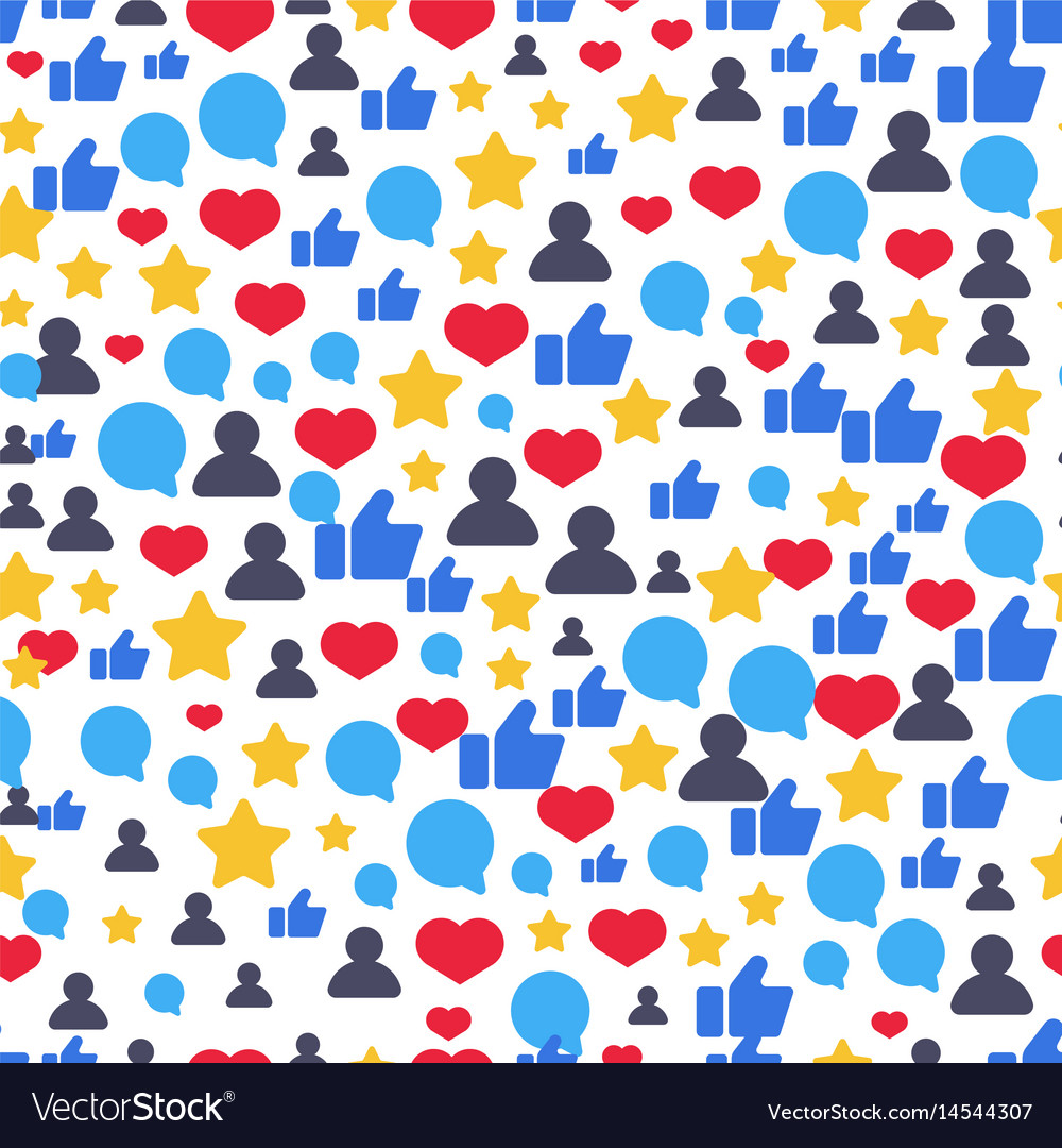 Seamless pattern with speech bubbles likes