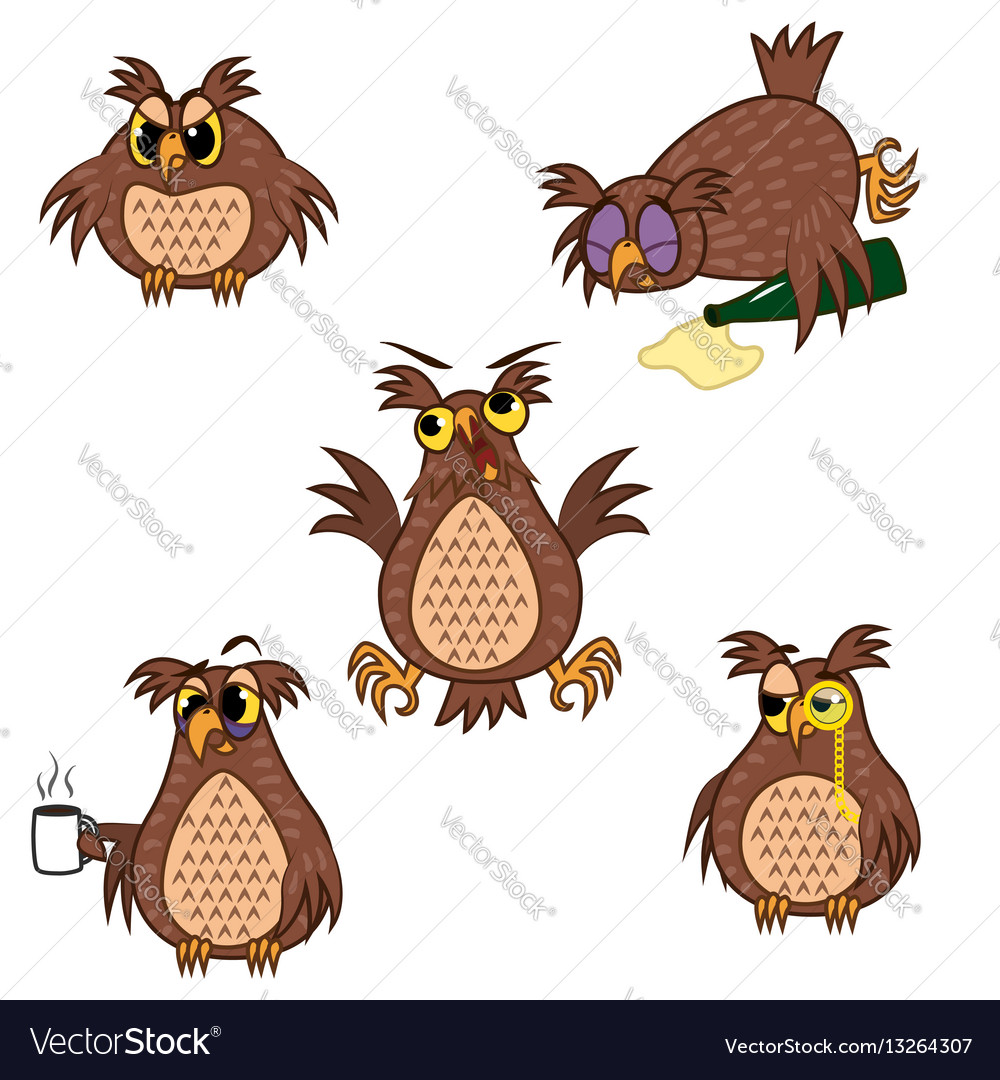Set isolated emoji character cartoon owl with vector image