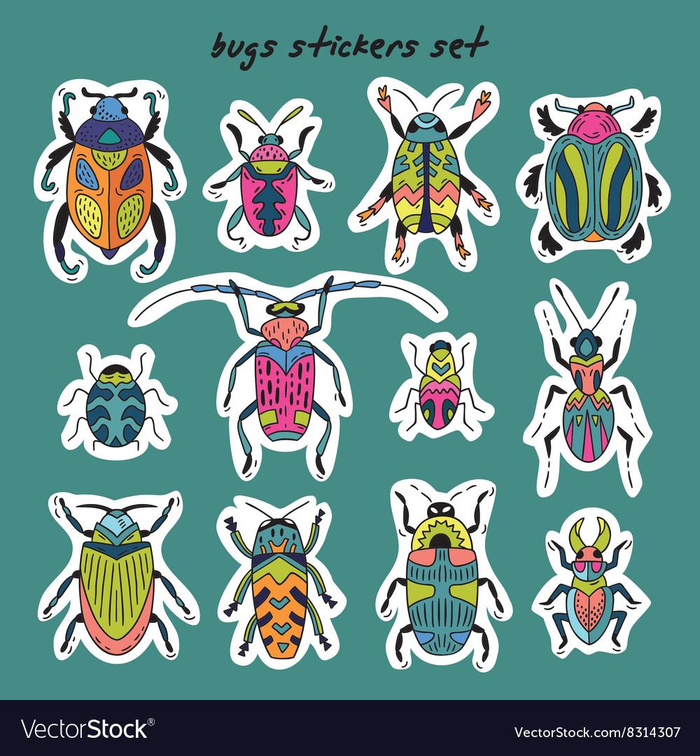 Sticker set of bugs
