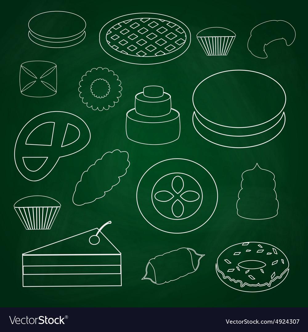 Sweet desserts outline icons on blackboard eps10