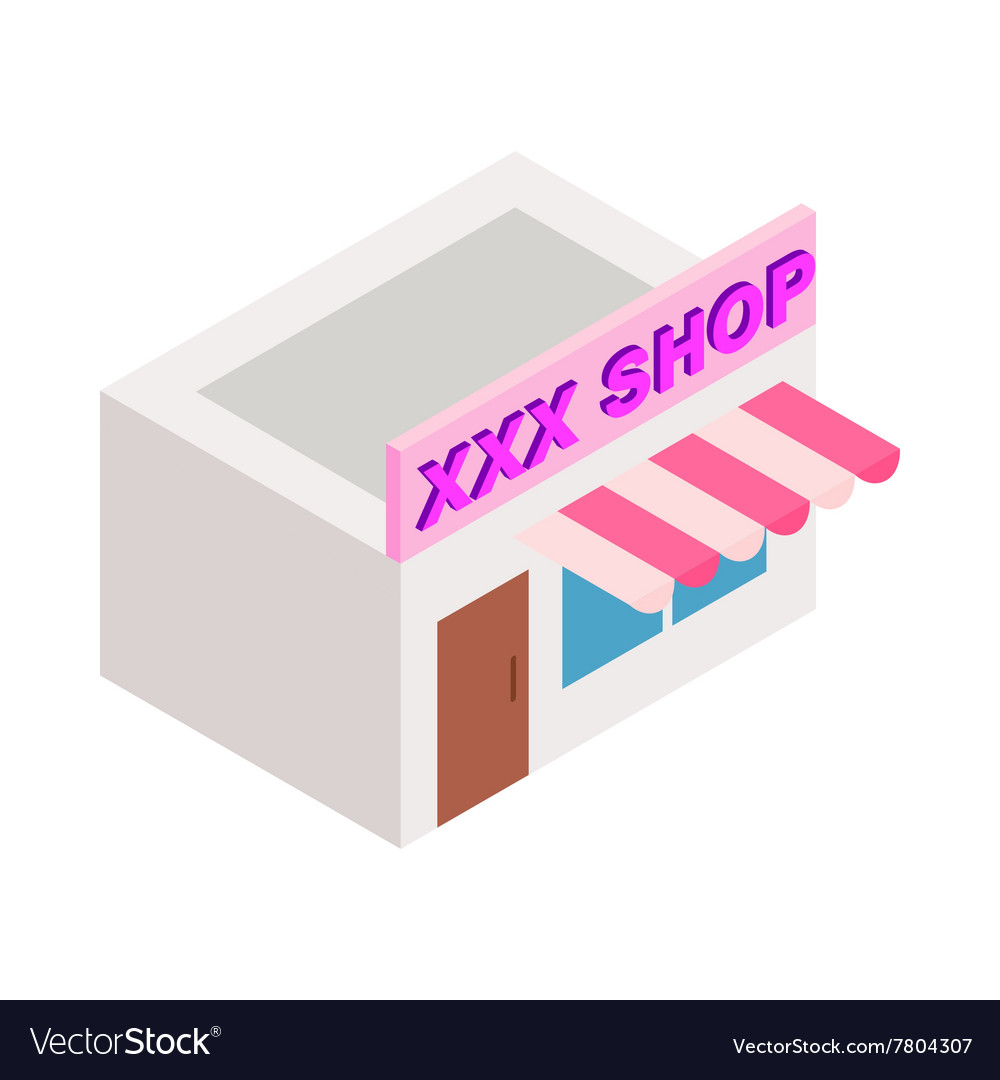XXX shop building icon isometric 3d style vector image