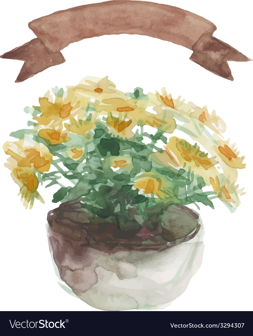 Yellow Flower In A Flower Pot Beige Ribbon Set On Vector Image