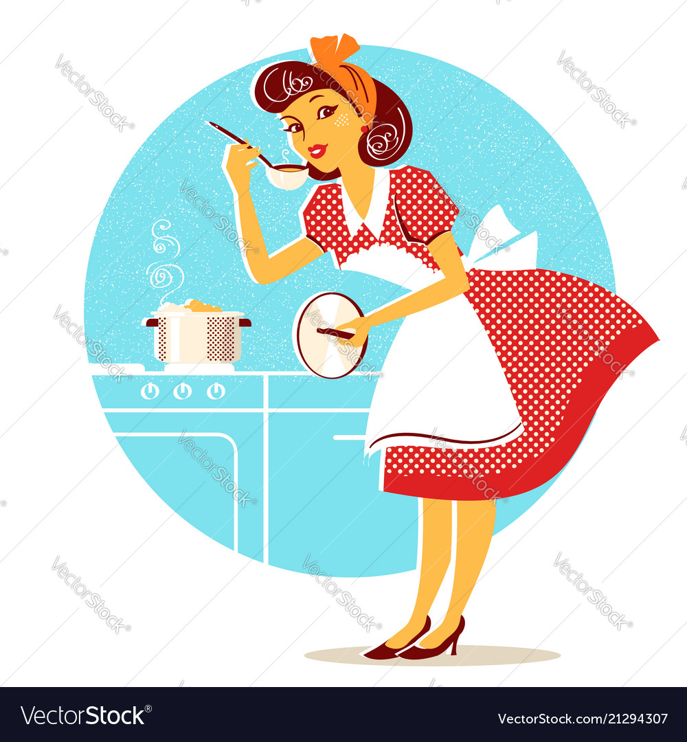 Young housewife in retro fashion dress cooking