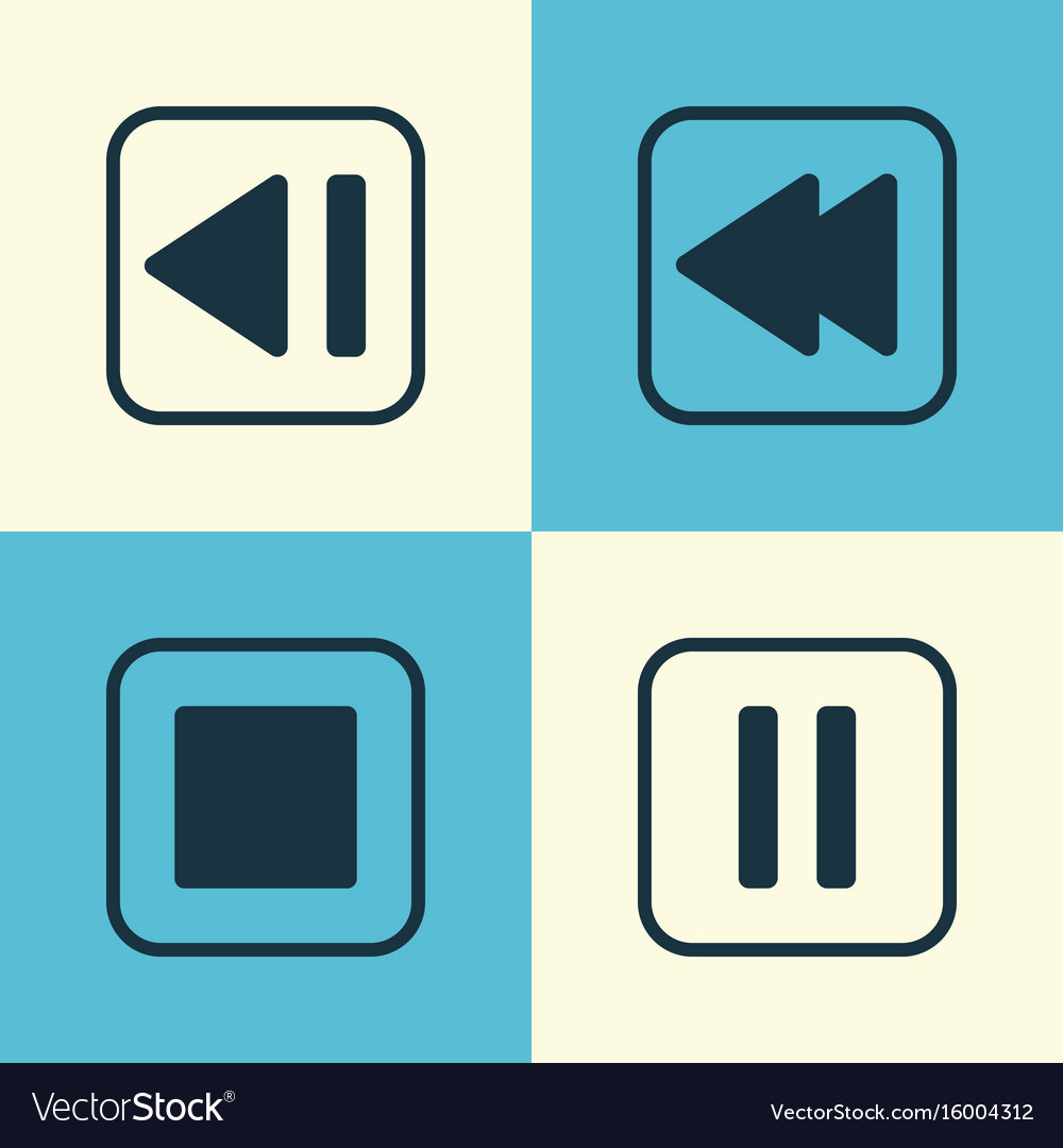 Audio icons set collection of stop button mute vector image