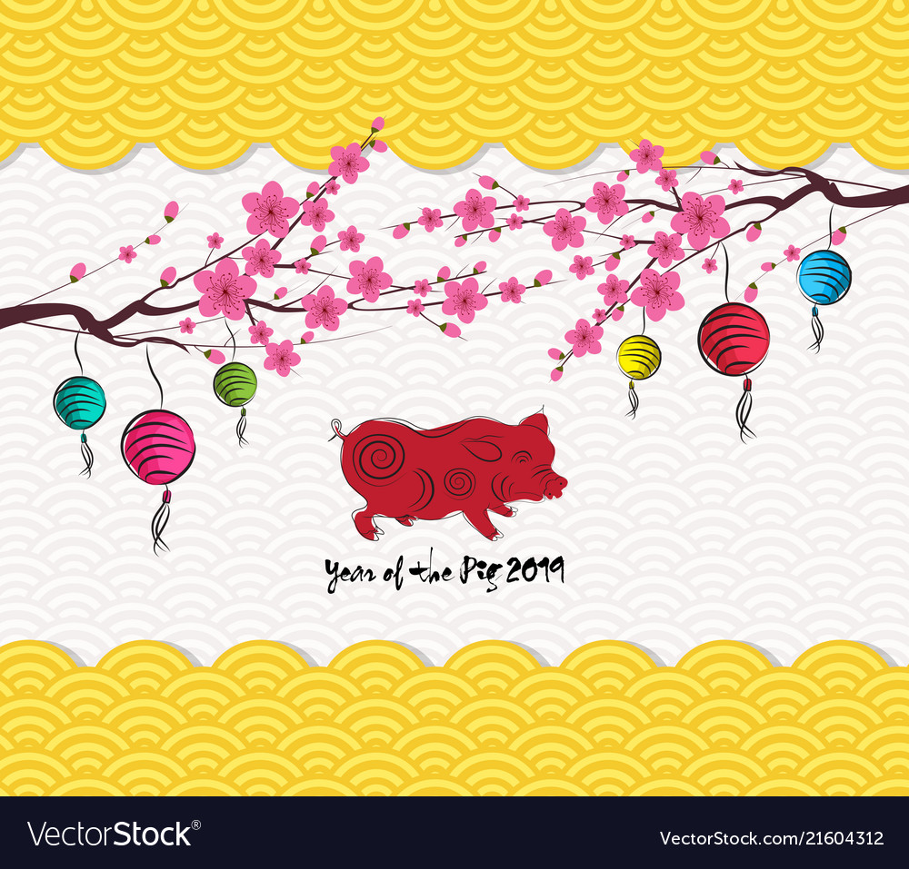 chinese new year 2019 lantern pattern background vector image