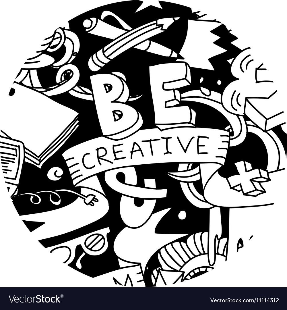 Creative pen idea doodles symbol round black and