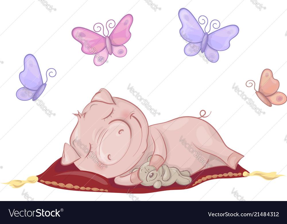 Cute pig sleeping