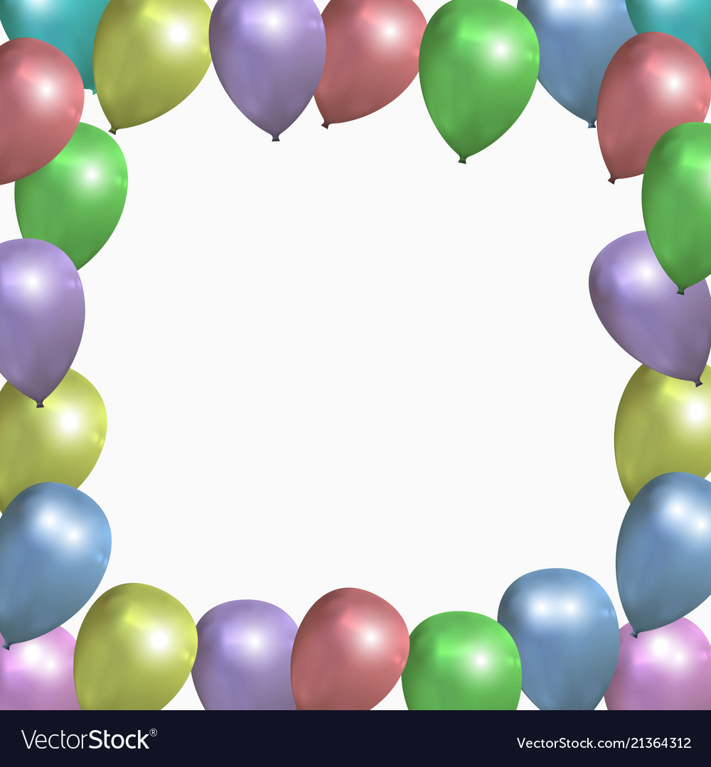 festive frame with colored balloons royalty free vector