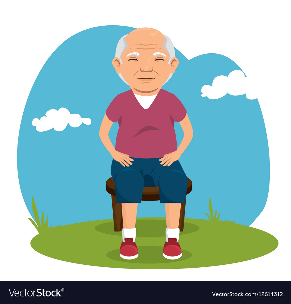 Grandfather with sport clothing