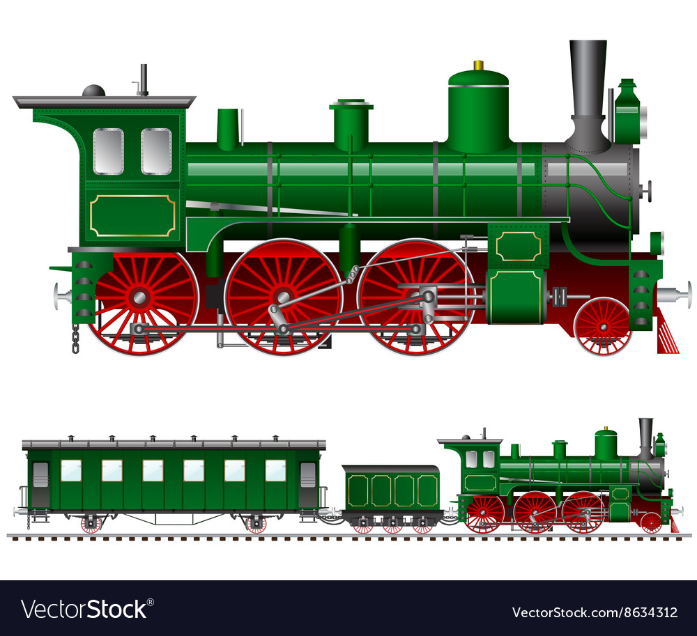 Green steam locomotive with tender