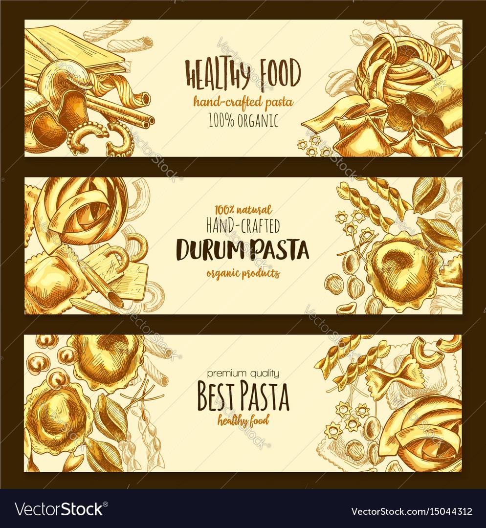 Italian durum pasta cuisine banners vector image