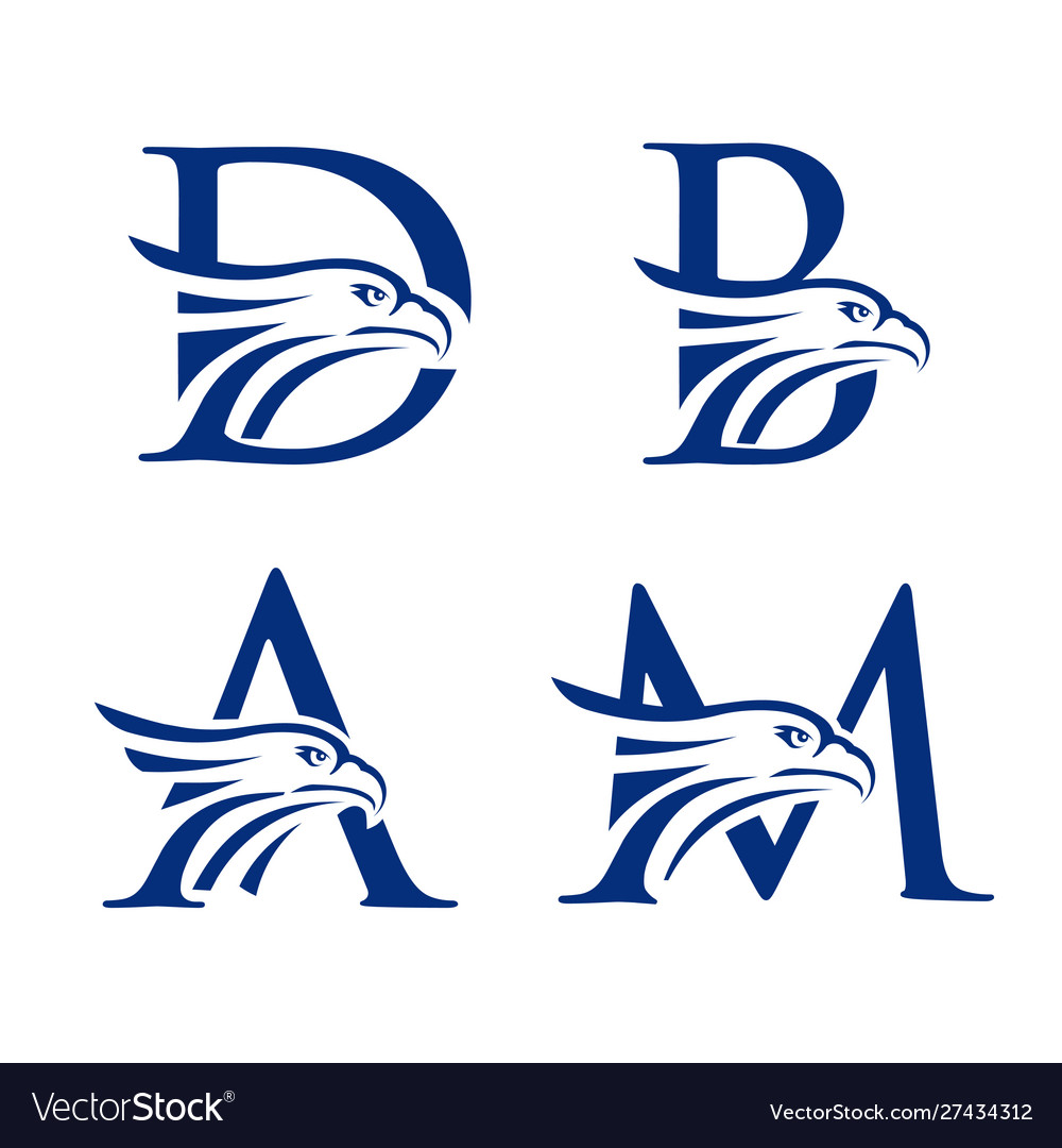 Letter with eagle head logo concept