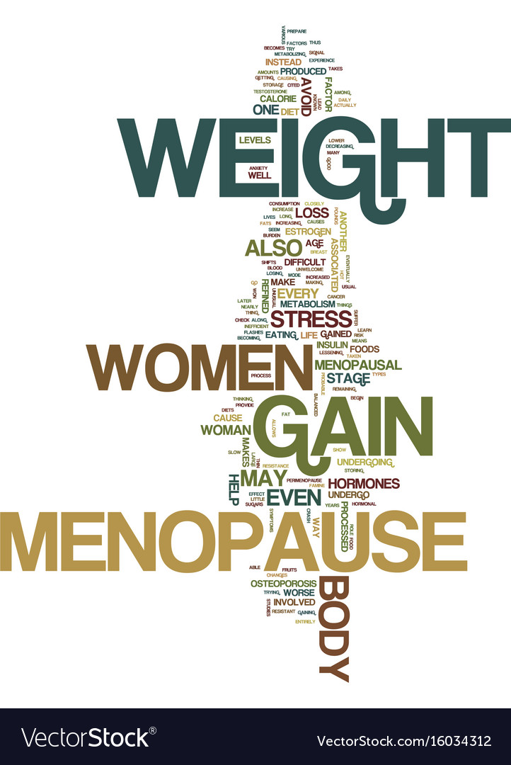 Menopause And Weight Gain Text Background Word Vector Image