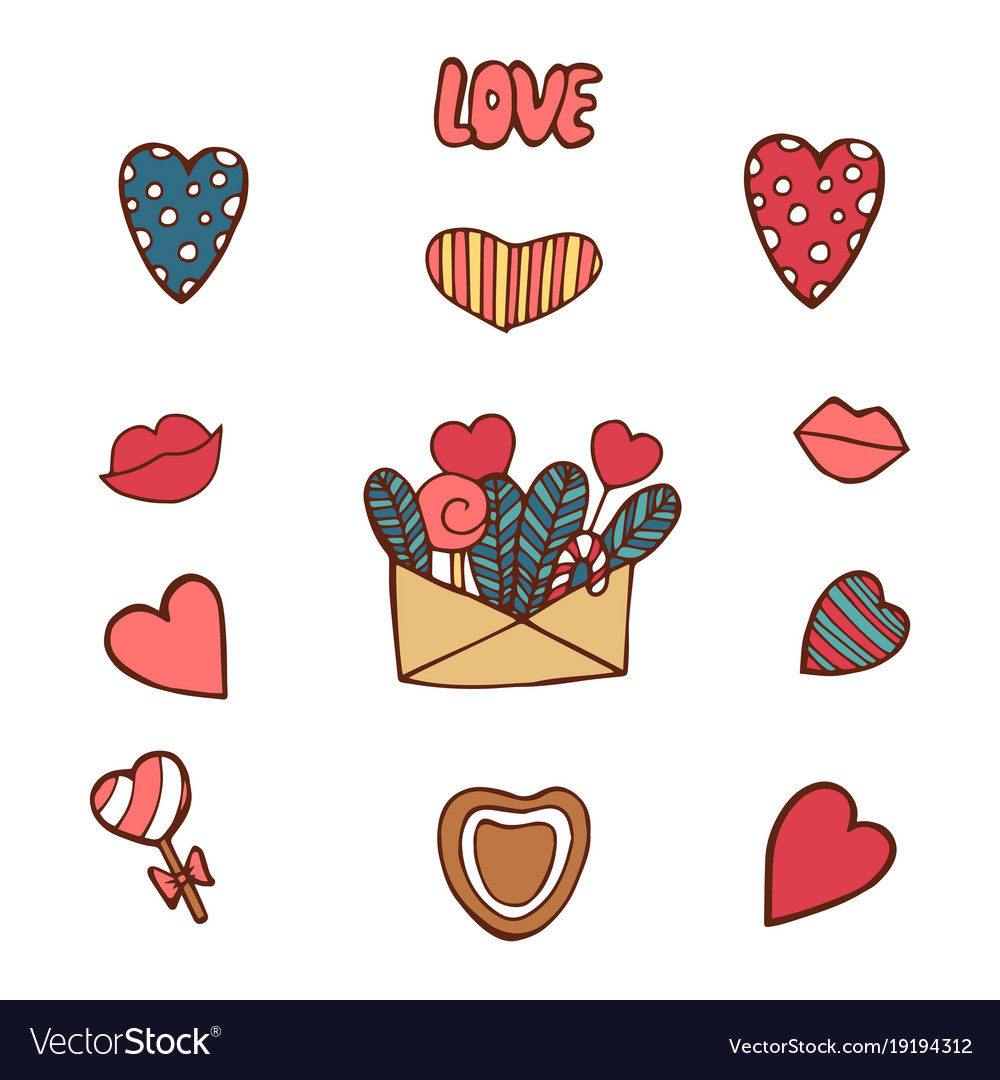 Pack of love stickers with hearts hand drawn vector image