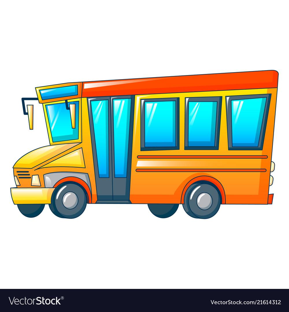 Retro kid school bus icon cartoon style