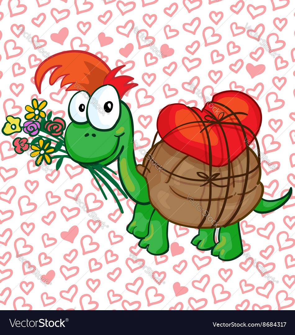 A in love cartoon turtle