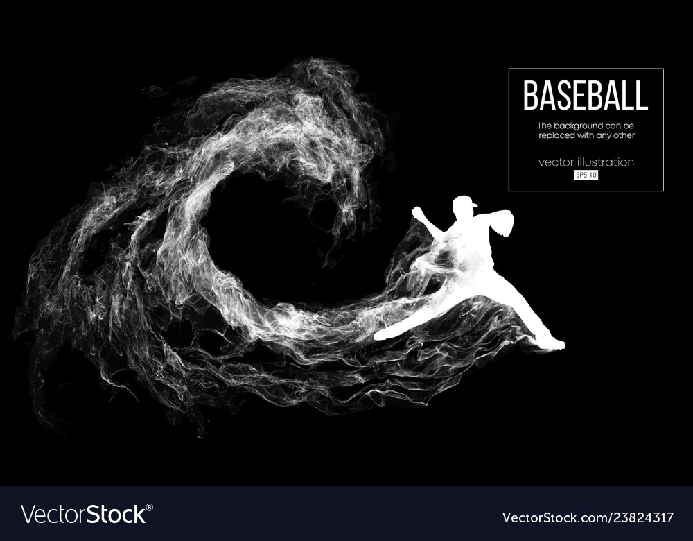 Abstract silhouette of a baseball player pitcher