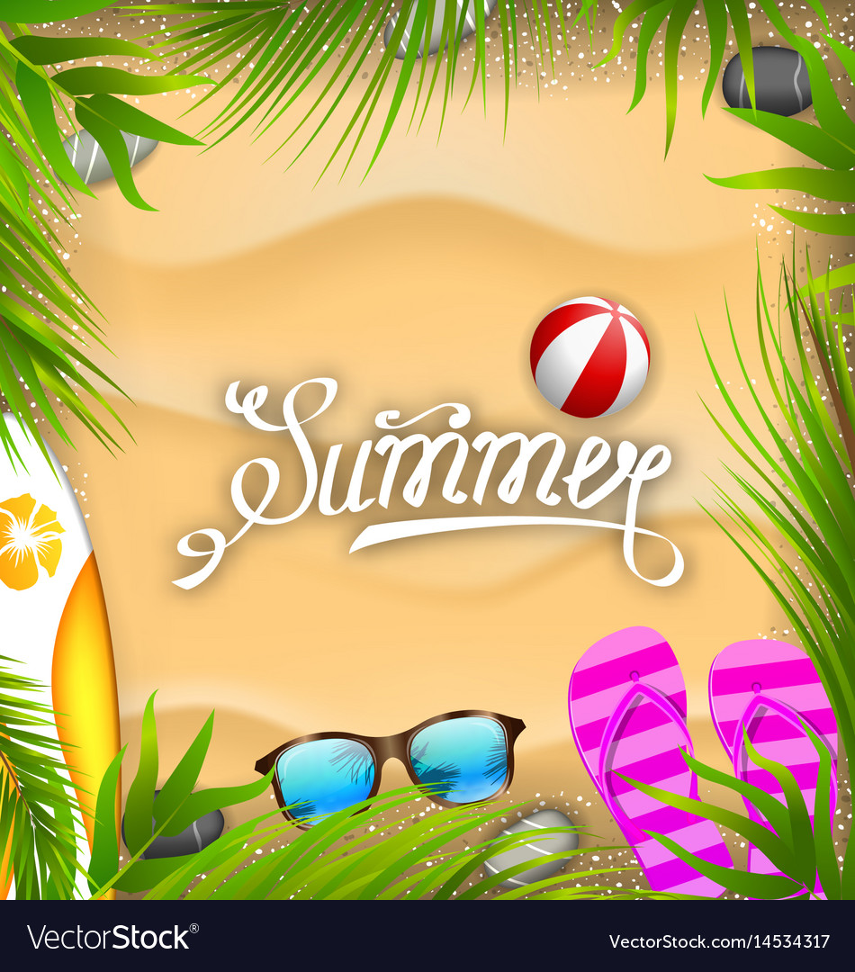 Beautiful poster with palm leaves beach ball