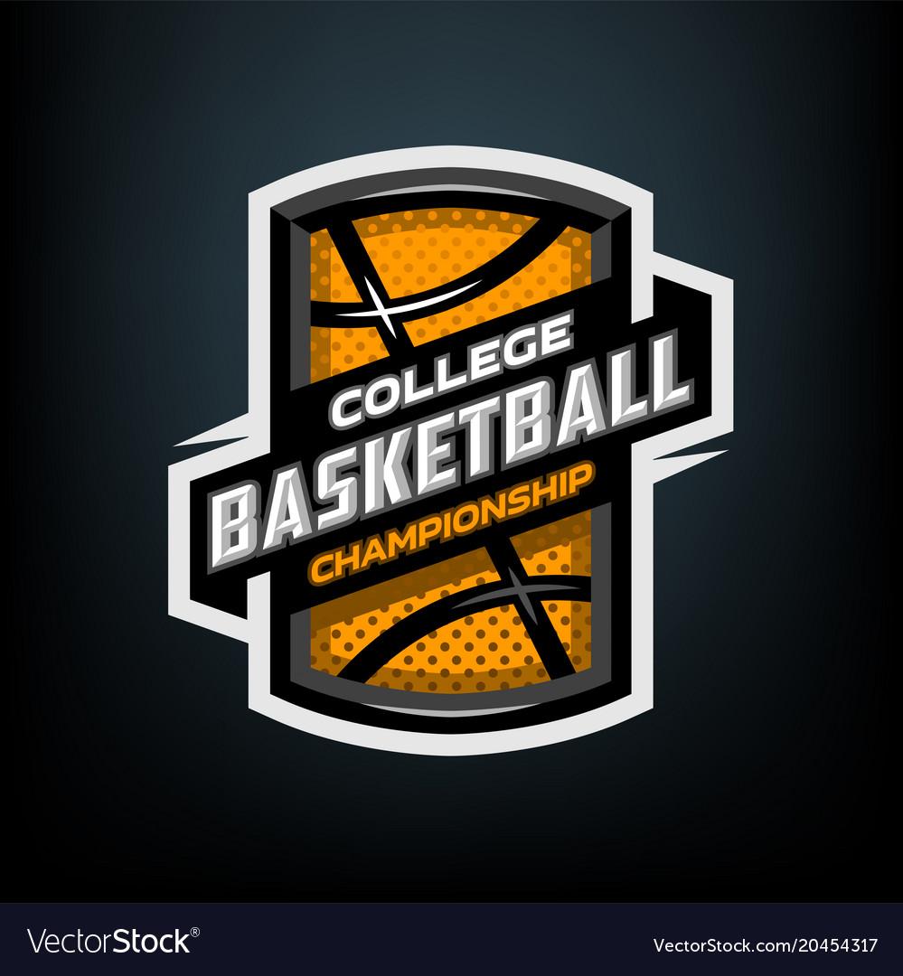 College basketball sports logo emblem vector image