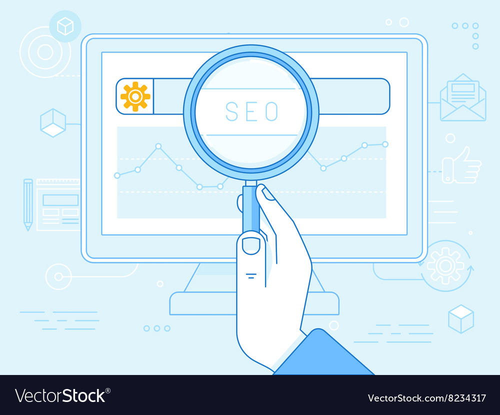 Flat linear in blue colors - seo concept