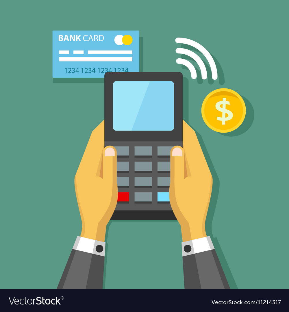 Hands holding credit card and pay terminal vector image