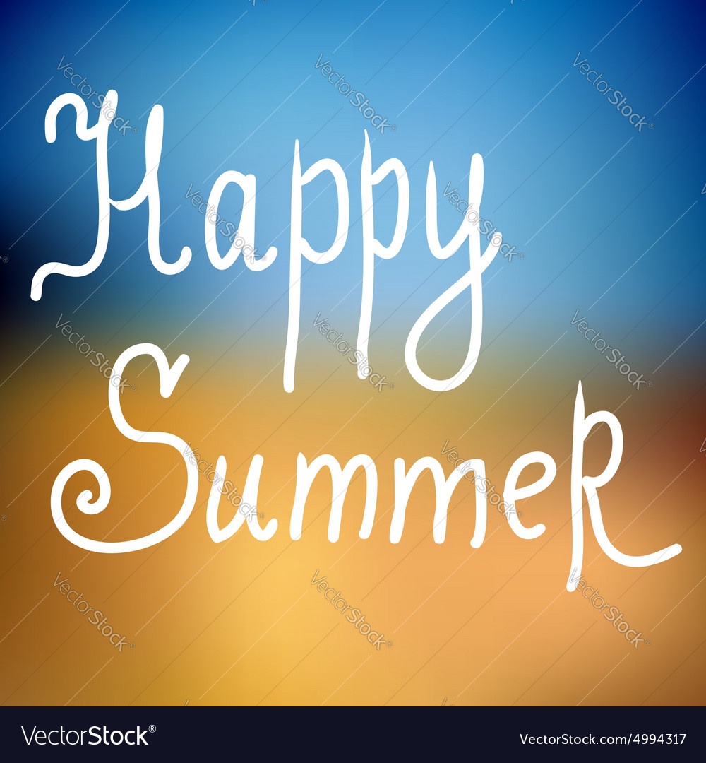Happy summer poster on beach background