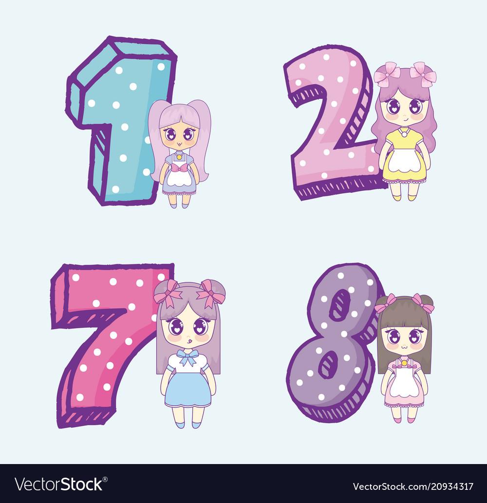 kawaii anime girls design royalty free vector image