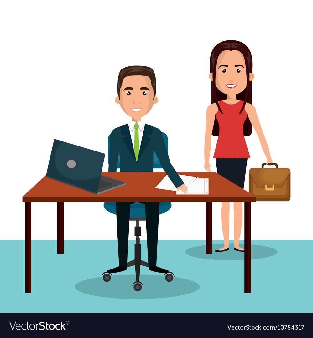 Man And Woman Cartoon Workplace Work Epmloyee
