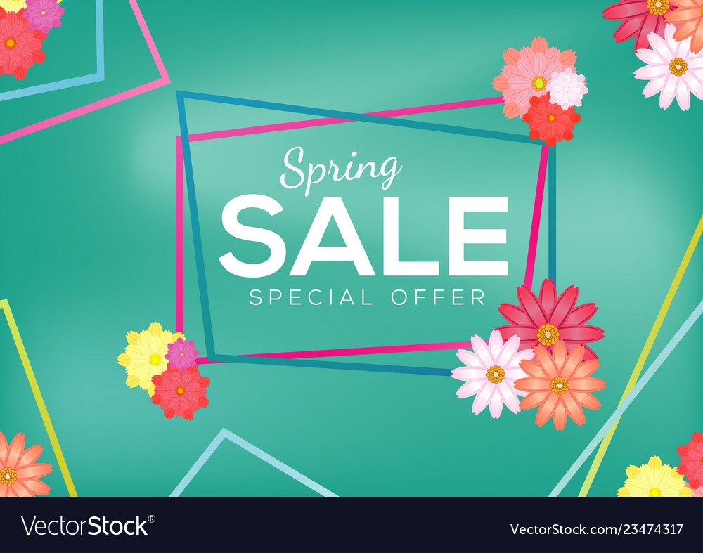 Spring sale banner design abstract colorful flower