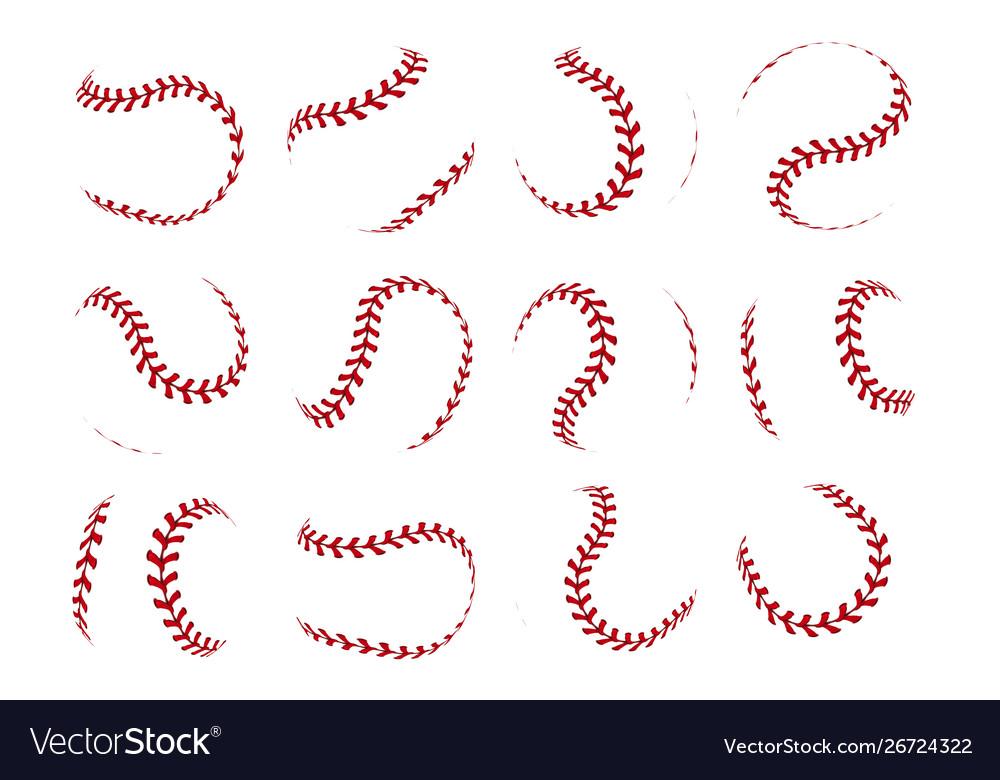 Baseball ball lace realistic softball stroke