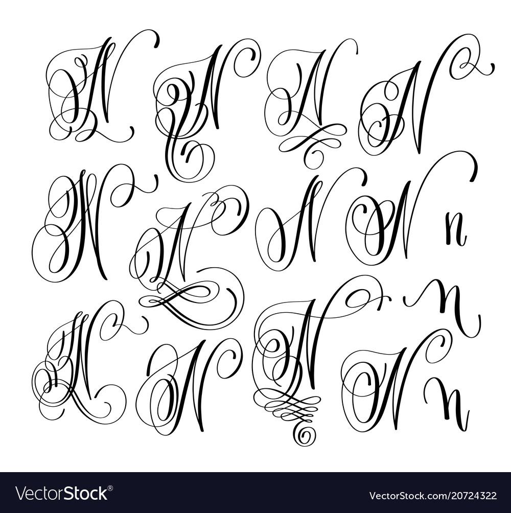 Calligraphy lettering script font n set hand