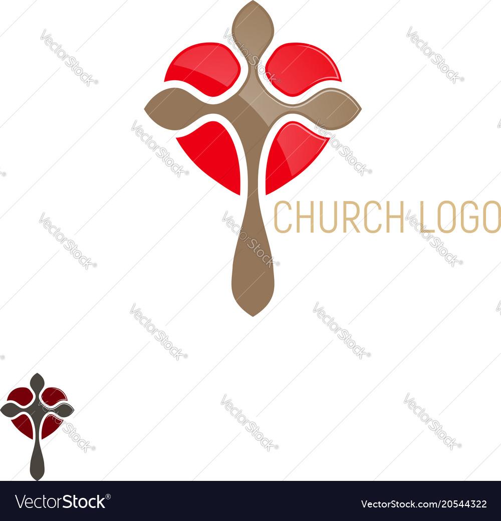 Church logo cross with heart