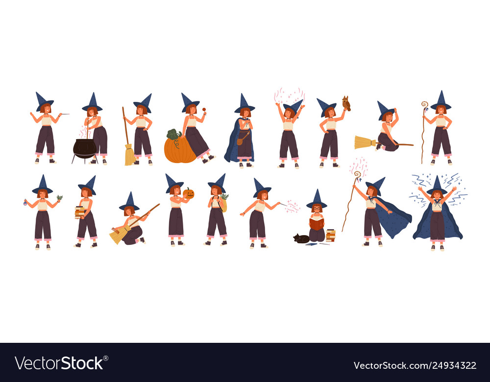 Collection cute little witch in hat flying on