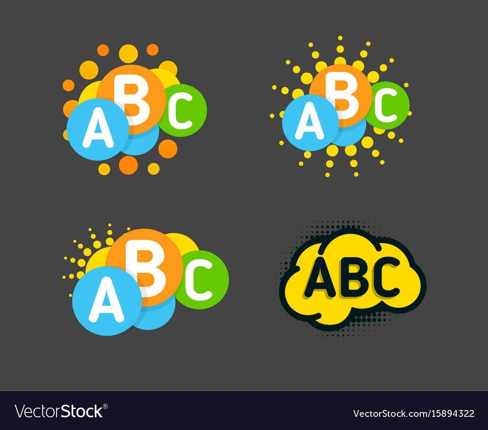 Creative children colorful brain with abc signs