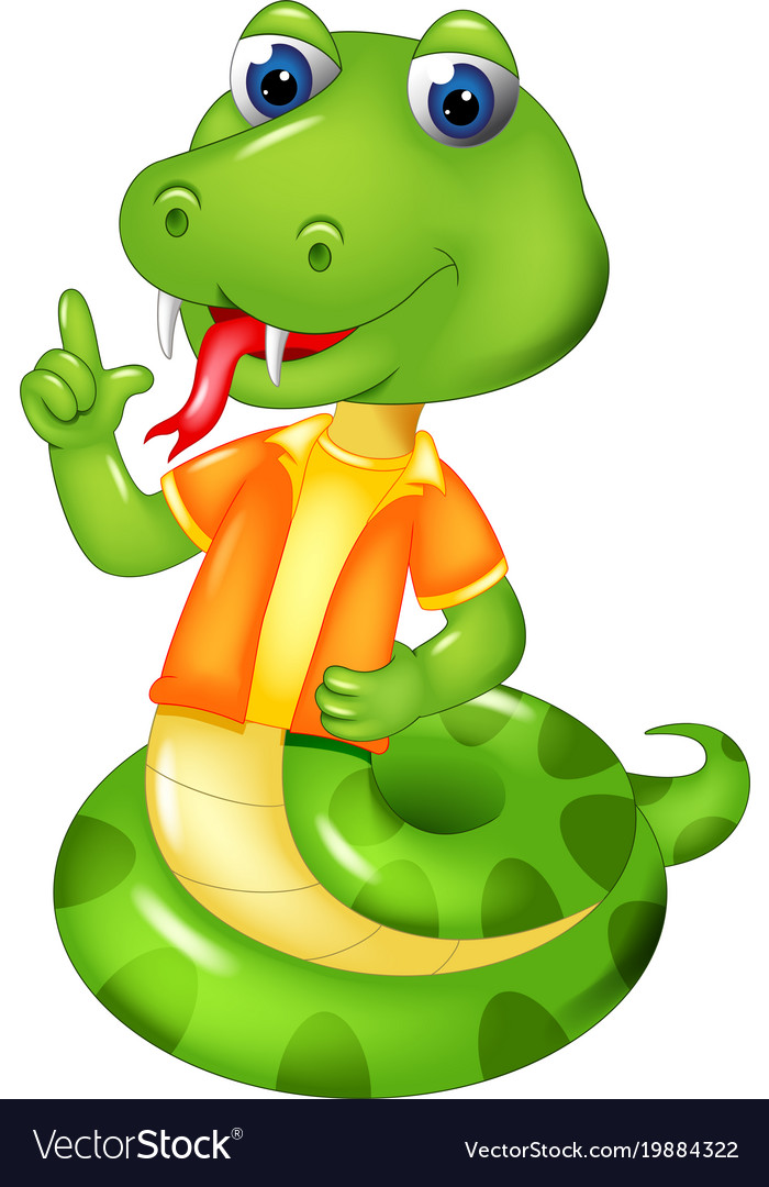 Cute snake cartoon posing with smiling