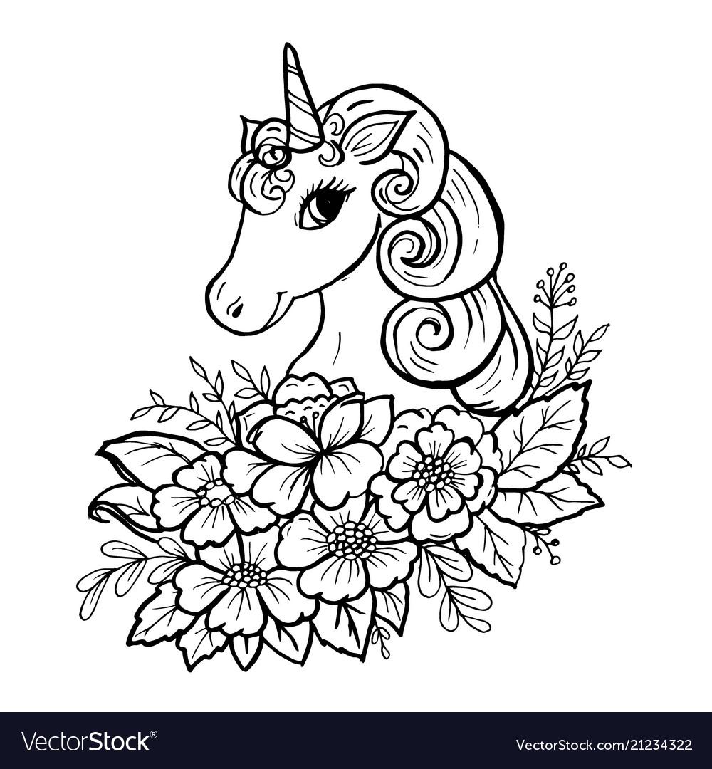 Doodle cute unicorn head