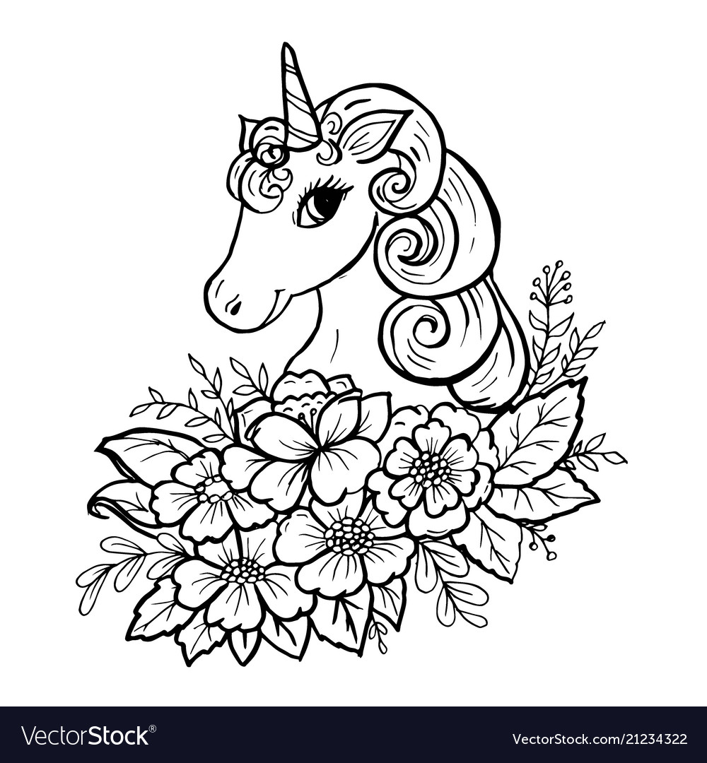 Doodle Cute Unicorn Head Royalty Free Vector Image