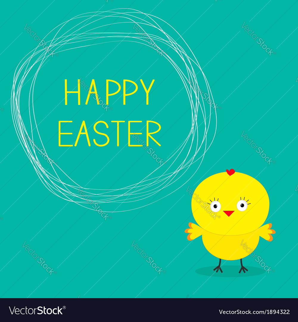 Easter chicken and scribble speech bubble Card vector image