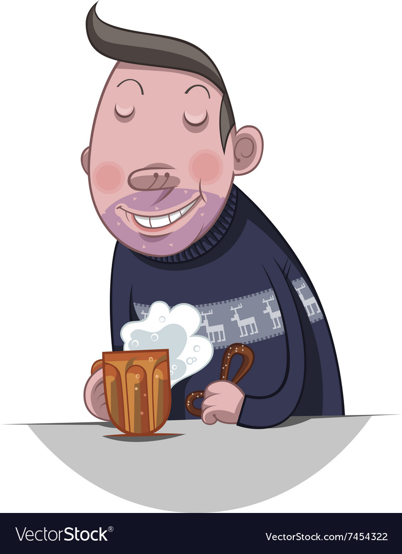 Fat man drinking beer vector image