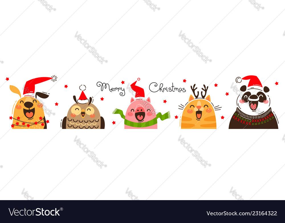 Happy animals in santa hats joyful dog owl pig