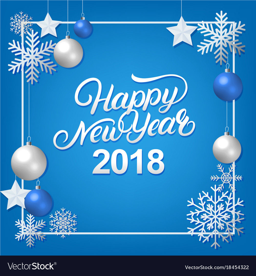Happy new year 2018 hand written lettering
