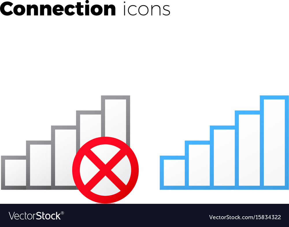 Internet access icon set no connection symbol
