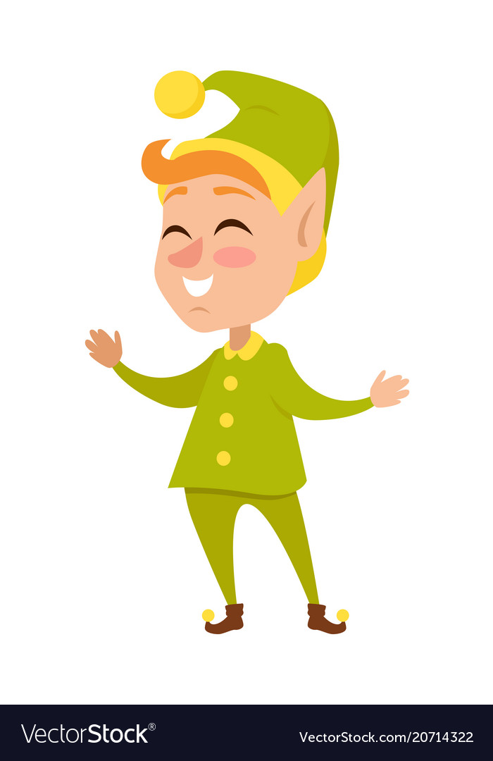 Isolated cartoon christmas elf in green costume