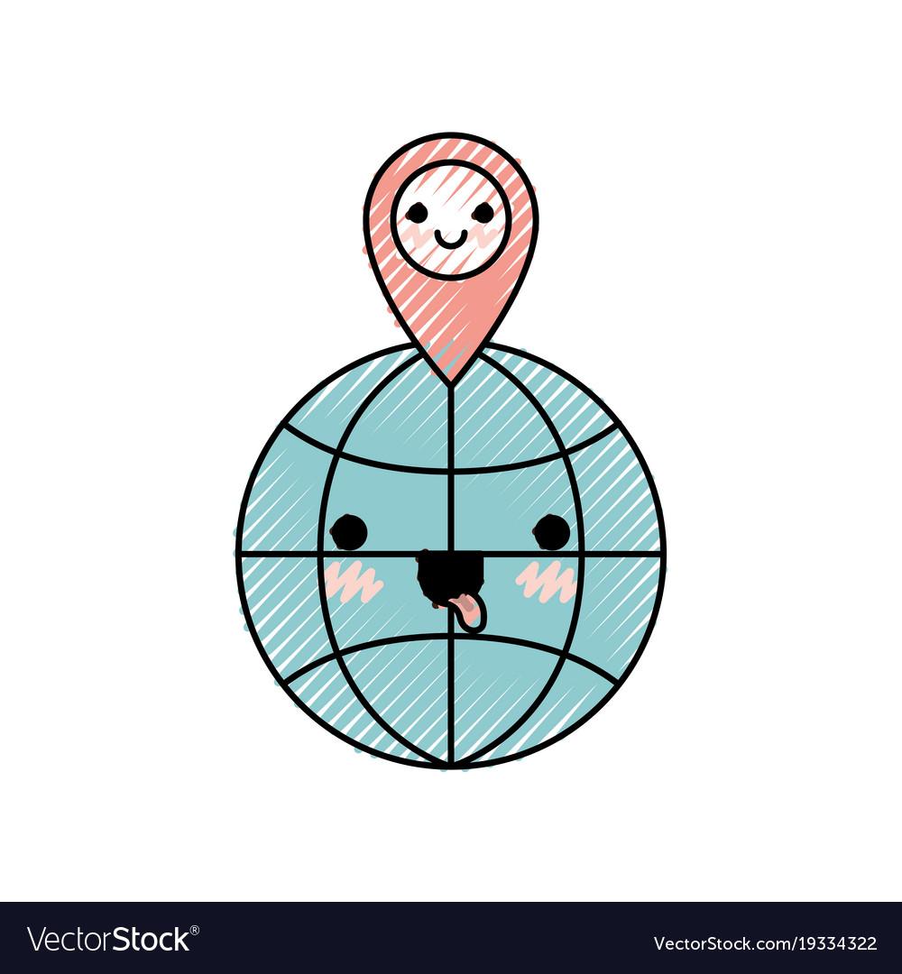 Kawaii world globe and kawaii map pointer on top on life world map, indie world map, design world map, cross world map, retro world map, anime world map, gothic world map, cats world map, candy world map, winter world map, nature world map, drawing world map, green world map, craft world map, love world map, illustration world map, jewelry world map, rainbow world map, coffee world map,