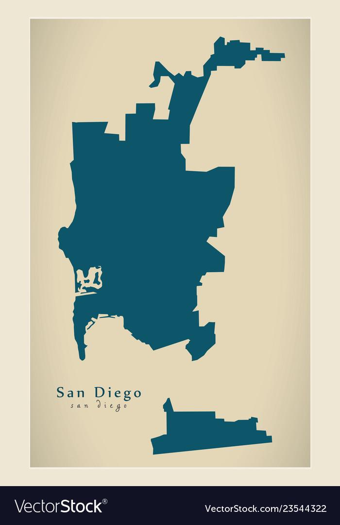 Modern map - san diego city of the usa