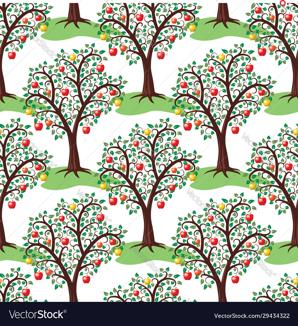 Seamless repeating pattern with apple trees with